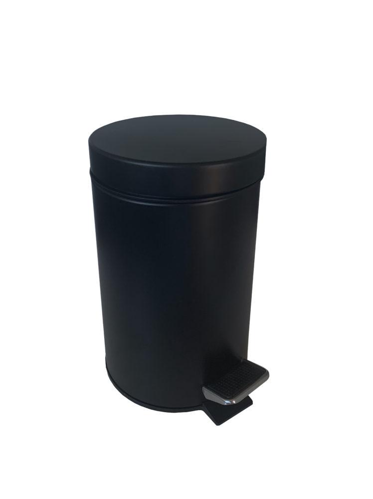 Poubelle à pédale 3L métal noir
