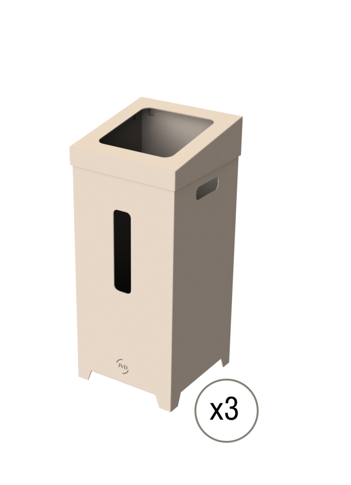 Kit 3 Poubelles Carton 75L